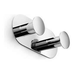 """WS Bath Collections - Napie Double Bathroom Hook - Features: -Bathroom hook. -Napie collection. -Made of solid brass base. -Made in Italy. Specifications: -Manufacturer provides one year warranty. -projection: 1.6"""". -Overall dimensions: 2.4"""" H x 5.5"""" W x 2"""" D."""