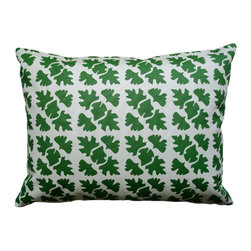 Balanced Design - Hand Printed Canvas Pillow - Shade, Leaf, 14 x 18 - The bold pattern of graphic leaves creates a modern and artful look in this throw pillow. You can feel good about investing in a design that has been hand-printed and sewn in the United States and is even ecofriendly. Since the insert is made of recycled plastic bottles and feathers, you're truly combining old and new for a fresh look at home.