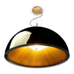Leds Grok - Umbrella Suspension - Umbrella pendant features a Black outer shade with a Gold pleated interior shade or a White outer shade with a Silver pleated interior shade. Available in two sizes. Three 5.6 watt, 120 volt medium base LED bulb are included. Dimensions: Small: 23.62 inch diameter x 11.81 inch shade height x 59.05 maximum overall length. Small available in White shade only. Large: 39.37 inch diameter x 19.68 inch shade height x 118 inch maximum overall length. Large available in White or Black shade.