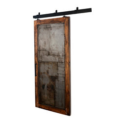 "Rustica Hardware - Steampunk Scrap Metal Barn Door - 7 Ft H X 3 Ft W - Glaze + Clear Coat Finish - Somewhere out there is a special room that needs something else. Something different then the expected and anticipated. The Steampunk door finds its home there. Inspired by the rough and mechanical ""Steampunk"" style, this door makes you feel like you were not supposed to see it. Like it was supposed to be covered up by a clean layer of the most common substrate of its time. But someone went rouge and said, no. With a very common frame around the perimeter of this door, the focus is set on the full panel of a dirty raw steel bent and riddled with welding tacs. The dramatic curves reach out and refuse to be hidden any longer. This door reacts well with many motifs and styles."