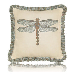 Elaine Smith - dragonfly spa pillow (20x20) - Performance pillows from renowned textile designer Elaine Smith® feature unique fabrics that are both soft and stylish, rich in color, lavish in detail, and impervious to the elements.