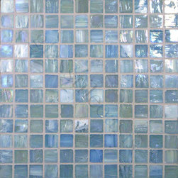 "Glass Tile Oasis - Baby Blue 1"" x 1"" Blue Pool Glossy & Iridescent Glass - Sheet size:  12 5/8"" x 12 5/8""     Tile Size:  1"" x 1""     Tiles per sheet:  144     Tile thickness:  1/4""      Sheet Mount:  Paper Face      Sold by the sheet    -  Brilliant glass combed through with coordinating colors and available in 14 mouth-watering colors  in both Iridescent and Frost finishes.Waterfall tiles are hand-poured and will have a certain amount of variation and variegation of color  tone  shade and size. Additionally  you will notice creases  wrinkles  shivers  waves  bubbles topped off with a natural surface to catch all forms of light for a brilliant effect. These characteristics of natural glass and only serve to enhance the final beauty of the installation."