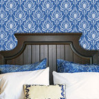 Peacock Fancy Stencil - Peacock Fancy Wall Stencil from Royal Design Studio Stencils. This graphic hand painted pattern looks great in bedrooms, dining rooms and foyers and makes a great accent wall.