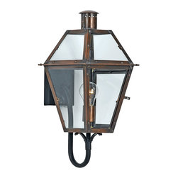 Quoizel - Quoizel RO8410AC Rue De Royal Traditional Outdoor Wall Sconce - From the Charleston Copper Lantern Collection, this piece gives you the historic look of gas lighting, but without the hassle of a propane feed.  It is all electric, solid copper and hand riveted, giving your home the romantic, reproduction style of antique gas lights still popular today on many of the charming homes in New Orleans and Charleston.
