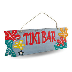 "Zeckos - Weathered Finish Wooden ""Tiki Bar"" Sign with Rope Hanger - This delightfully cheerful 'Tiki Bar' sign is a wonderful addition to your home bar, patio, pool or restaurant with a lightly weathered finish, it features a natural rope hanger, bright coral-red, orange and yellow hibiscus flowers on a light gray background. It's great to hang on fences, posts, walls and doors at 15.5 inches (39 cm) long, 5.5 inches (14 cm) high and 1/2 inch (1 cm) deep. This piece is a great gift for that friend with a tiki themed porch sure to brighten their day"
