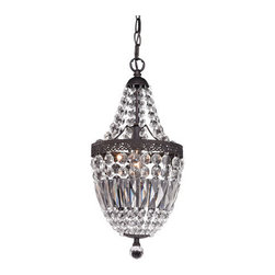 Sterling Industries - Sterling Industries 122-026 Signature 1 Light Pendants in Dark Bronze - An Interpretation Of A 19Th Century French Empire Pendant. This Minature Is Elegantly Strung With Crystals Which Form A Bottom Basket.