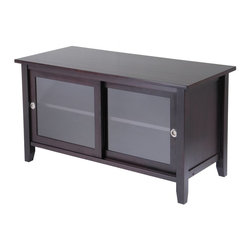 Winsome Wood - Winsome Wood TV Media Stand with Dark Espresso Finish X-44029 - Elegant and sleek, this TV stand a new look to your home.  Finished in an espresso stain, this TV stand features 2 glass sliding doors opening to a great space to store your TV needs.