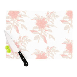 """Kess InHouse - Gukuuki """"Pastel Fluers"""" Pink White Cutting Board (11"""" x 7.5"""") - These sturdy tempered glass cutting boards will make everything you chop look like a Dutch painting. Perfect the art of cooking with your KESS InHouse unique art cutting board. Go for patterns or painted, either way this non-skid, dishwasher safe cutting board is perfect for preparing any artistic dinner or serving. Cut, chop, serve or frame, all of these unique cutting boards are gorgeous."""