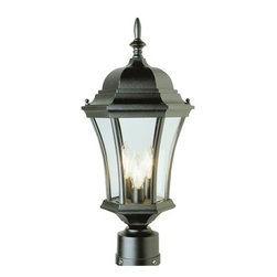 "Trans Globe Lighting - Trans Globe Lighting 4504 BK Black Outdoor Traditional / Classic Three - Features:  Cast aluminum fixture Clear glass Up lighting  Specifications:  Height: 21.25"" Width: 9.5"" Number of bulbs: 3 (not included) Bulb base: Candelabra Bulb type: Incandescent"