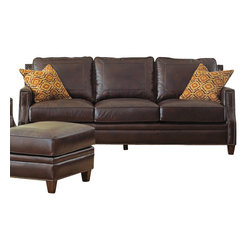 Steve Silver Furniture - Steve Silver Caldwell Sofa w/2 Accent Pillows in Walnut Leather - Sofa w/2 Accent Pillows in Walnut Leather belongs to Caldwell Collection by Steve Silver Made of 100% leather, the Caldwell sofa will bring an inviting feel to your space. The sofa features tooled leather accents on the seat and back cushions. The foam seating is a 2.0HR with pocketed coils for added comfort. The accent pillows are included and feature 100% feathered down. The arms on the collection pieces feature nail head accents along with a unique cut. A Santa Maria Walnut color is the leather and adds for a warmth and masculine collection.   Sofa (1)