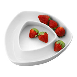 Danya B - White Porcelain 2-Tier Triangle Appetizer Dish - This gorgeous White Porcelain Modern Design Two Tier Triangle Appetizer Dish has the finest details and highest quality you will find anywhere! White Porcelain Modern Design Two Tier Triangle Appetizer Dish is truly remarkable.