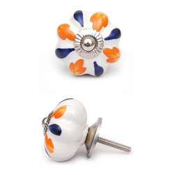 """Potteryville - Ceramic Knobs, Orange and Blue - Orange and blue design on a white ceramic cabinet knob, perfect for your kitchen and bathroom cabinets! The knob is 1.8"""" in diameter and includes screws for installation."""