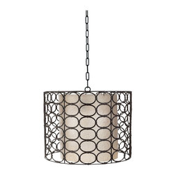 "Lazy Susan - Lazy Susan LZS-466002 Weathered Drum Gray Oval Ring Lamp - Consider a hanging lamp that's outside the box. The wicker, cane, metal and resin-linked oval encircles your shade and bulb and creates a stylish modern-medieval look. Hanging your ""Game of Thrones"" lamp over a table or to illuminate a nook or work area, the chain link cord can be adjusted for height and maximum impact."