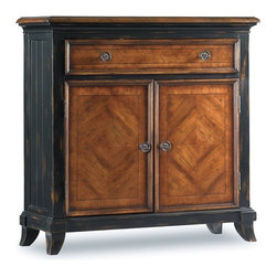 "Hooker Furniture - Wingate Chest - White glove, in-home delivery included!  A welcoming surface of cherry and walnut veneers on this three-drawer leg chest helps put elegance into your hospitality.   Door Opening: 28 1/8"" w x 9 1/2"" d x 19 3/16"" h  Drawer: 26 1/2"" w x 7 15/16"" d x 3 1/2"" h  Shelf: 29 5/16"" w x 9 1/8"" d"