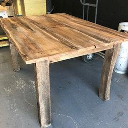 Reclaimed Wood Furniture - Custom Reclaimed Wood butcher block made from wine barrel wood by True American Grain. Call 949-637-2992