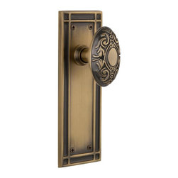 Nostalgic Warehouse - Nostalgic Mission Plate with Victorian Knob in Antique Brass (715954) - The Mission plate in antique brass harkens to the Spanish Colonial period of the Western frontier, with an instantly recognizable square corner. Combine this with our Victorian knob for a extraordinary look fit for royalty. All Nostalgic Warehouse knobs are mounted on a solid (not plated) forged brass base for durability and beauty.