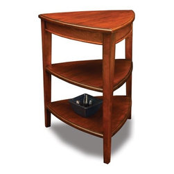 Leick - Favorite Finds End Table - Features: -Solid hardwoods.-3 Tiered display surfaces.-Versatile, 3 sided design nestles into tight spaces.-Classic shaker / mission style.-Glazed auburn finish.-Favorite Finds collection.-Collection: Favorite Finds.-Distressed: No.Specifications: -3 Shelves for storage and display.Dimensions: -Overall dimensions : 27'' H x 21'' W x 21'' D.-Overall Product Weight: 30 lbs.