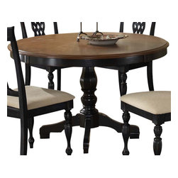 Hillsdale Furniture - Hillsdale Embassy Pedestal 48x48 Round Dining Table - Featuring the classic combination of our rubbed black finish with cherry table top, our Embassy dining collection is one of our crown jewels. Rich in traditional design, the woven laced wood back and tall rectangular chair silhouette combined with the graceful pedestal table base creates the impression of timeless elegance. Complete with a coordinating sideboard for attractive work, serving, or display space, and matching swivel stool seating, available in both bar and counter height, this collection is sure to make a statement in your kitchen or dining room.