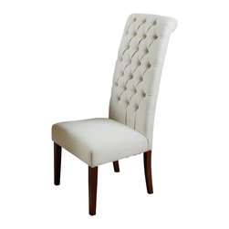 Great Deal Furniture - Cooper High Back Natural Fabric Dining Chair (set of 2) - Our Cooper Natural Fabric Dining Chairs feature a tall and tufted backrest design with a rolled top. Built with a strong hardwood frame, these chairs feature beige linen fabric with wood stained legs. The cooper chairs add elegance to any dining space, as well as extra seating in your living room.