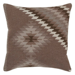 """Surya - Surya LD-038 Tranquil Tribal Pillow, 18"""" x 18"""", Down Feather Filler - Get taken away in tribal with this fashionable pillow from the Beth Lacefield collection. Featuring the trendy tribal pattern, light grey, white, and olive green coloring pops against the dark grey backdrop, offering a stylish look sure to impress from room to room. This pillow contains a zipper closure and provides a reliable and affordable solution to updating your home's decor. Genuinely faultless in aspects of construction and style, this piece embodies impeccable artistry while maintaining principles of affordability and durable design, making it the ideal accent for your decor."""