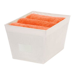 Honey Can Do - Large Tapered Canvas Storage Bin - Tapered bin with handle and contents label holder. 15 in L x 13 in W x 9.8 in H