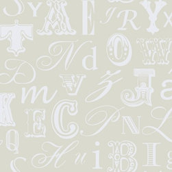 Word Play Wallpaper In Silver And White By York Wallcoverings - When used on an accent wall, this paper would make any office more glamorous. Letters of all shapes and sizes create dimension, without being too distracting to keep from the work at hand.