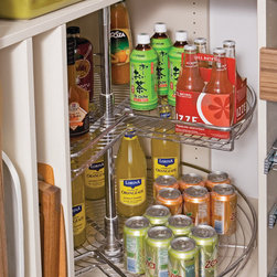 transFORM - Pantry Corner Carousel - Chrome corner pantry storage carousel.
