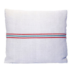 Striped Feed Sack Pillow - If you've got a passion for re-purposing with style, this is your new throw pillow. It's fashioned from a simple European feed sack with a  backing of twill and overlocked seams — perfect for your casual sophisticate decor.