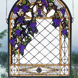 Meyda - 22 Inch W X 30 Inch H Grape Diamond Trellis Window Windows - Color Theme: Zasdy Purple 59 Ha