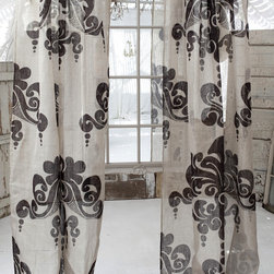 "Couture Dreams Enchantique Natural/Bark Linen Gauze Window Panels - Couture Dreams Enchantique Linen Gauze Window Panels are what we like to call a French inspired Art Deco with a Modern Twist. Truly beautiful and unique these rustic chic linen gauze window panels are each hand printed with a large decorative motif. Offered in three different colorways and lengths, these panels are sure to dress up any room. These window panels can be combined with any type of home decor from modern to traditional. Panels hang on a 4"" rod pocket, which can either slide directly onto the pole or can hang from rings with clips. They are made from fine, premium quality 100% linen gauze fabric which is delicate and refined."
