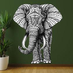 My Wonderful Walls - Elephant Wall Sticker Decal –  Ornate Animal Art by BioWorkZ, Medium - - Product: ornate standing elephant wall sticker decal