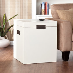 Upton Home - Barclay White Trunk End Table - Enhance the look of your living space with this white trunk end table. The metal and MDF construction of this end table provides durability, while the design of this trunk table allows you to maximize storage space and keep your space tidy.