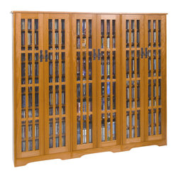 Leslie Dame - Leslie Dame CD/DVD Wall Rack Media Storage with Slat Door Fronts in Oak - Leslie Dame - CD & DVD Media Storage - M1431 - The Oak Media Storage Unit has plenty of room and style to meet all of your requirements when displaying and storing your media collection. Reminiscent of the Arts and Crafts movement, this media storage cabinet features classic design elements including an overhang top, bracket feet and slat door fronts that create a distinctive window pane look.