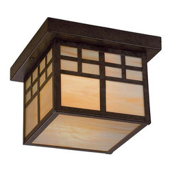 """The Great Outdoors - The Great Outdoors GO 8609-PL 2 Light Down Lighting Flush Mount Ceiling Fixture - The Great Outdoors 8609-PL Two Light Outdoor Flush Mount Ceiling Fixture from the Scottsdale II CollectionA family of """"Mission"""" style exterior lanterns accented with Honey Opal Art Glass, Scottsdale™ is available in a deep rich Textured French Bronze finish."""