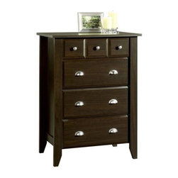 Sauder - Shoal Creek 4 Drawer Chest in Jamocha Wood Fi - Drawers with metal runners and safety stops. Patented T-lock assembly system. Interlocking safety mechanism allows only 1 drawer open at a time. Made of engineered wood. Assembly required. 35 in. W x 19 in. D x 43 in. H