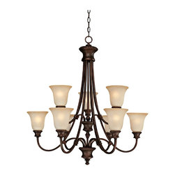 "Lamps Plus - Traditional Hill House Collection 9-Light 32 1/2"" Wide Chandelier - Timeless classic beauty comes to life on this nine light chandelier from the Hill House Collection by Capital Lighting. Mist Scavo glass shades give off the perfect warm lighting your home decor needs. Traditional leaf details around the shades give it an antique feel. Burnished bronze finish. Mist scavo glass. Includes 10 ft chain and 15 ft wire. Takes nine 100 watt bulbs (not included). Canopy is 6"" wide. 32 1/2"" wide. 33 1/2"" high.  Burnished bronze finish.   Mist scavo glass.   Includes 10 ft chain and 15 ft wire.   Large chandelier with two levels of lights.  Takes nine 100 watt bulbs (not included).   Canopy is 6"" wide.   32 1/2"" wide.   33 1/2"" high."