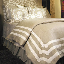Lili Alessandra - Lili Alessandra Angie Linen Natural & White Duvet Cover or Set - Elaborate prints, plush fabric and elegant details define the unique and distinctive style of Lili Alessandra. Look to Lili's luxurious coordinating bed linens to create a lavish boudoir without a lot of fuss. Classic linen is given an artistic update with embroidered detailing to create the lovely Angie duvet cover. This gorgeous duvet cover features natural and white linen with a beautiful applique pattern. Complete this delightful bed set with layers of texture in optional Angie pillow shams and Battersea bed linens. Lili Alessandra textiles reflect a hand made artistry that may result in slight and expected design variations.