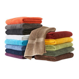 Towels by G.U.S. - Bath Luxury Egyptian Cotton Towel, Coral, Swatch - Reaching for a dry towel to wrap-up in, only to pull a still-damp towel to your skin? Towels so heavy they move your washer in the spin cycle? Then it's time to lighten up your laundry load with our feather weight Bath Luxury Egyptian Cotton Towels. These elegantly designed towels are silky smooth, long airy loops make them a breeze to dry and triple hemmed detailing keeps corners clean from fuzz or fray.