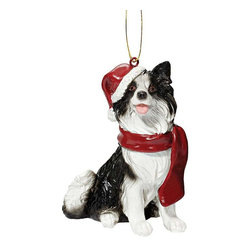 """EttansPalace - Border Collie Holiday Dog Ornament Sculpture - With a festive Santa hat and red scarf, this adorable Border Collie dog ornament has neither a """"bark"""" nor a """"bite"""" worth worrying over! Our Border Collie dog ornament is realistically sculpted, cast in quality designer resin and hand painted for the """"discriminating dog lover"""". The perfect canine gift for Border Collie dog aficionados and a fun way to include your pets in holiday decorating! Approx. 2.5""""W x 1.5""""D x 3.5""""H. .5 lb."""