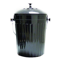 MOBOO® Compost Bin 1.0 Gallon. Charcoal - Made of MOBOO® (molded bamboo). Use this sturdy, durable compost bin to hold food scraps from your kitchen until they®re transferred to an outdoor compost area. Charcoal filter absorbs odors for 6 months.