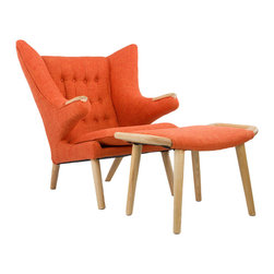 Teddy Lounge Chair & Ottoman in Orange - Lounge in high style with this Teddy Lounge Chair & Ottoman. Featuring a unique modern shape and upholstered in durable orange fabric, the chair will withstand late night conversations or quiet afternoons with a good book. Go ahead and get comfy.