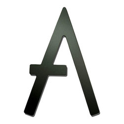 Satin Black Contemporary House Letters - Made with a Satin Black Powder Coated finish, these house letters will give your home's exterior a sophisticated and artistic curb appeal.