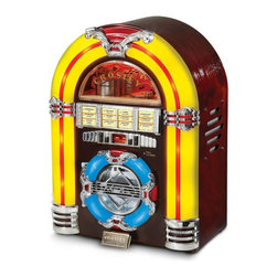 Crosley - Crosley Mini CD Jukebox Multicolor - CR1101A-CH - Shop for Jukeboxes from Hayneedle.com! Oldies goodies everything sounds better coming out of the Crosley Mini CD Jukebox. This reproduction of the classic 1947 jukebox takes you back to that sweet memory of sitting in your favorite diner slurping a milkshake with you-know-who. The smooth walnut finish has old-fashioned craftsmanship but this jukebox has thoroughly modern guts. The song chart flips open to reveal an AM/FM dial and the panel lights provide old-school ambience. Not compatible with portable audio devices or mp3s. The handcrafted wood and veneer cabinet holds the controls for the radio and the CD player. We couldn't bear to put all those newfangled doohickies on such an authentically retro jukebox face! About CrosleyIn 1920 Powel Crosley founded the company that pioneered radio broadcasting and mass market manufacturing around the world starting with a simple radio meticulously crafted with obsessive detail and accuracy and a measure of consideration for the wallet. Today the Crosley name lives on with superb detailed replicas that transcend time. Vintage radios and turntables graced by unforgettable Crosley styling are blended with the latest technology. The Crosley Collection includes AM/FM radios suitcase-style record players multi-functional cassette and CD players jukeboxes music boxes telephones and more. Rich authentic retro designs make Crosley today's premier vintage electronics manufacturer.