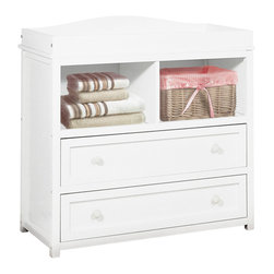AFG Baby - AFG Baby Leila 2 Drawer Changer in White - The Leila 2 Drawer Changer is a space-conscious dual-function dresser featuring 2 drawers and 2 shelves with an optional changer top (changing pad not included). Smooth lines across the changer easily allow pairings on almost any piece of furniture in your nursery. As your baby grows, the changing pad can be removed to store other prized possessions such as trophies and frames.