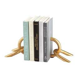 """Cyan Design - Goldie Locks Bookends by Cyan Designs - A strong golden chain is sliced in half with books! The Goldie Locks Bookends are a great accent for your desk or bookshelf. Now what novels will you lock in? (CY) 5.5"""" wide x 5"""" high"""