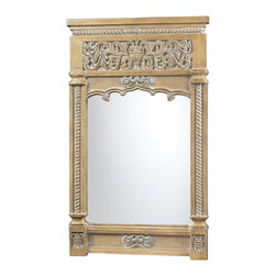 """Sterling Industries - Guilford Carved Mirror In Bleached Wood Finish - The Guilford Carved Mirror In Bleached Wood Finish is a wonderful wood mirror.  All one can say is """"Wow!"""" at this stunning display of craftsmanship.  The mirror is a carved wood with a bleached finish.  A top choice for anyone looking for that classic feel."""