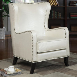 Celine Wing Accent Chair with Nailhead Trim - White - Elegant traditional accent seating can be added to a multitude of rooms in your home with this great wing back accent chair. Featuring nailhead trim, tapered wood legs, and a white faux animal print across the whole chair, this unique chair is a smart furniture choice for your home.