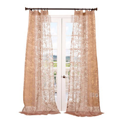 Exclusive Fabrics & Furnishings, LLC - Sabrina Taupe Patterned Sheer Curtain - Give your windows a new outlook with these impeccably tailored sheer drapes. The patterned sheers diffuse light beautifully.