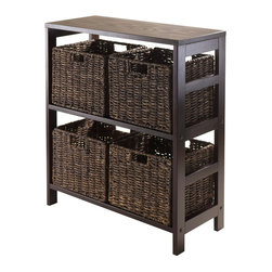 Winsome - 5pc Storage 2-Sect Shelf with 4 Small Baskets - Granville Storage Shelf Collection is perfect to use alone or pair with baskets and create a place for your goodies. Comes with four Small baskets made from corn husk in chocolate color. Shelf constructed from combination of solid and composite wood in Dark Espresso finish. Assembly Required.