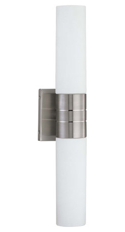 Nuvo Lighting - Nuvo Lighting 60-2936 Link 2-Light (Vertical) Tube Wall Sconce with White Glass - Nuvo Lighting 60-2936 Link 2-Light (Vertical) Tube Wall Sconce with White Glass